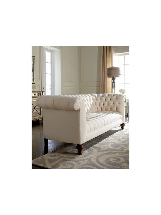 """Old Hickory Tannery - Old Hickory Tannery """"Ellsworth"""" Tufted Sofa - Chesterfield sofas are deep, tufted sofas with arms and back of the same height. This is actually an Old Hickory sofa and not exactly a Chesterfield, but it's a similar effect and would bring some country estate elegance to a contemporary room."""