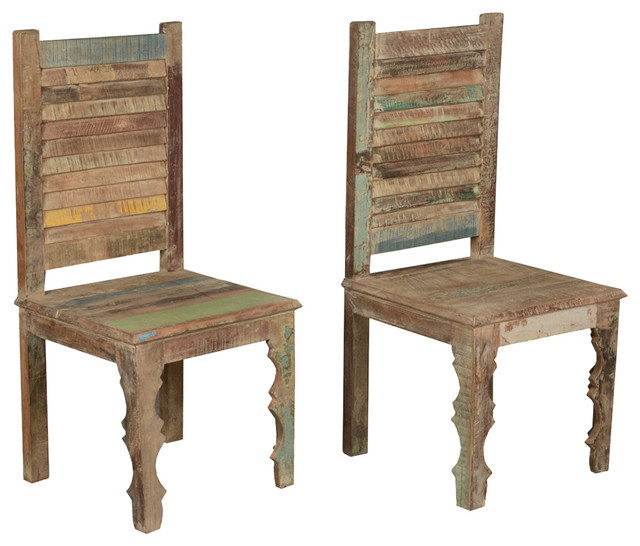 Farmhouse Rustic Old Reclaimed Wood Dining Chair Set of 2 rustic dining chairs