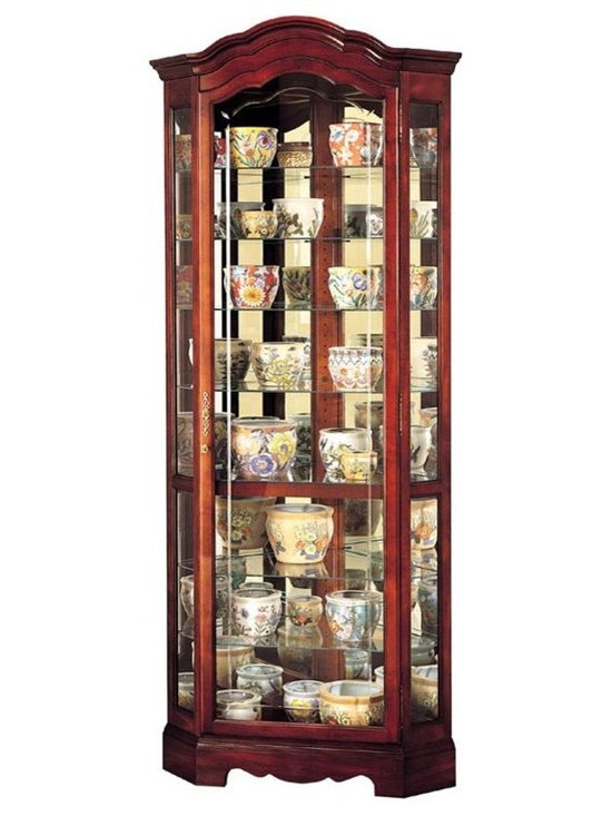 """Howard Miller - Jamestown Crystl-Cut Glass Curio Cabinet in W - Exhibit those fine cognac and shot glasses, heirlooms and other treasures in your enchantingly constructed Curio w Curved Pediment, Grooved Glass Doors & Windsor Cherry Finish, a mesmerizing piece accentuated with platinum finish and extraordinary design. * Crystal-cut grooved glass on the door follows the curves of the pedimentFinished in Windsor Cherry on select hardwoods and veneersHalogen lighting for brighter, whiter, longer-lasting light to illuminate your collectiblesAdjustable levelers under each corner provide stability on uneven and carpeted floorsCabinet is illuminated by an interior lightLocking door for added securityEight levels of display space accommodate your many treasuresGlass shelves can be adjusted to any level within your cabinetNo-ReachT light switch is conveniently located on the back of the cabinetPad-LockT cushioned metal shelf clips increase stability and safety82-1/4""""H x 34""""W x 21""""D"""