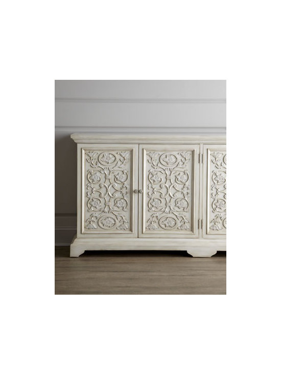 """John-Richard Collection - John-Richard Collection """"Camelot"""" Chest - A symphony in white, this charming chest features panel doors dressed in hand-carved vine and flower motifs. A glazed-white finish adds contemporary sophistication to its hand-planed, rustic quality. From the John-Richard Collection. Handcrafted of ac..."""