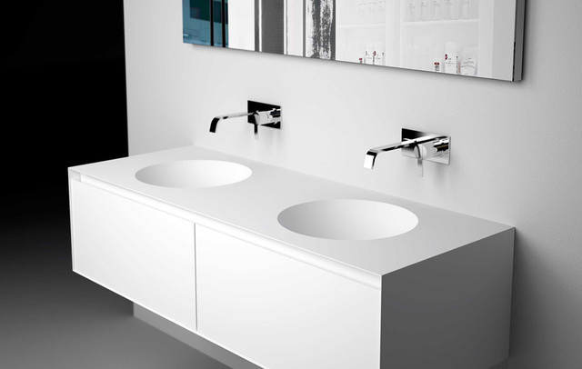 Bacino top with integrated sink modern bathroom sinks for Corian sink accessories