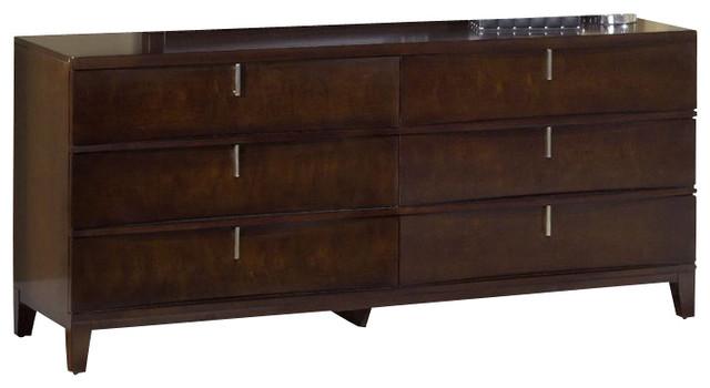 Modus furniture legend wood six drawer dresser in for Chocolate brown bedroom furniture