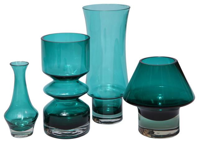 Grouping of Finnish Teal Green Vases modern-vases