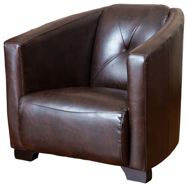Bowman Brown Leather Club Chair Transitional Armchairs