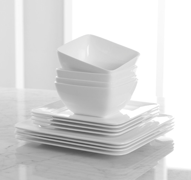 Hotel Collection, Bone China 12 Piece Square Set - Contemporary - Dinner Plates - other metro ...