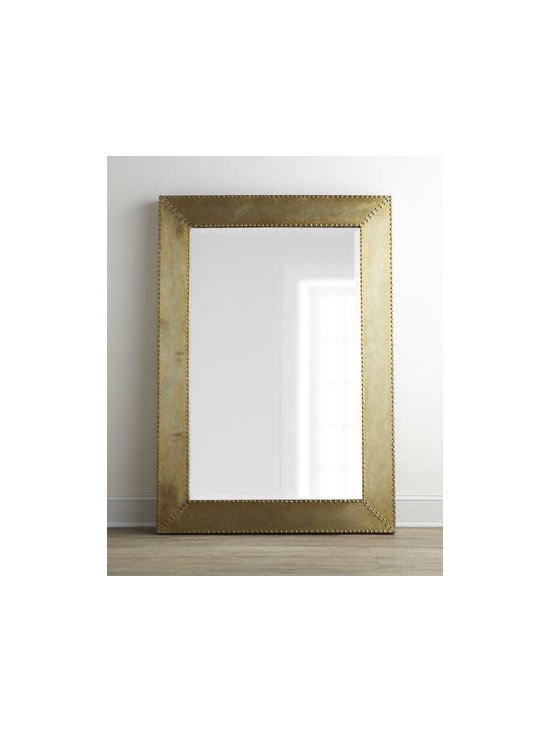 """Horchow - Rashane Metal Mirror - Modern metal-framed mirror adds a hard sheen to your decor for great contrast with a soft leather sofa or airy white bed linens. Made of aluminum with nailhead trim. Hand-painted silver-champagne finish. Mirror has a 1.25""""bevel. May be hung on wall...."""