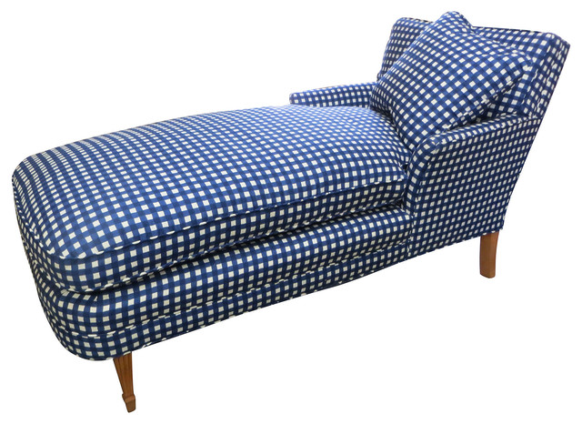 Blue white checked chaise w pillow contemporary for Blue chaise lounge indoor