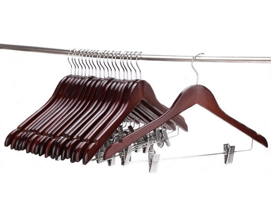 J.S. Hanger - J.S. Hanger® Solid Gugertree Wooden Pant Hanger Walnut Polished(Set of 20) - Feature: