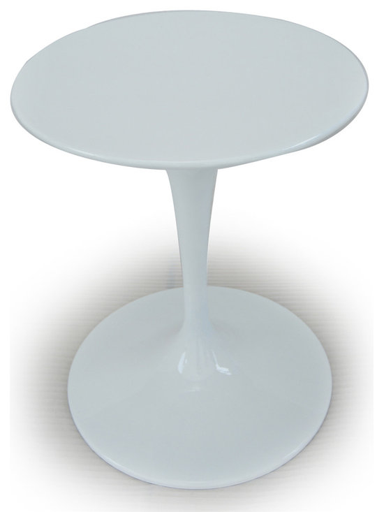 """Kardiel Tulip Style Round Table White Fiberglass, 24″ Diameter - Does it get any more """"Eero Saarinen"""" than the Tulip Chair and Table series? It should come as no surprise that an artists work is their signature. Comparing the tulip table and chairs, created in 1964/65 respectively, it is not difficult to see the relationship to Eero's other furniture pieces. A similar styling can be found in Eero Aarnio' ball chair. Not only did they share the same first name but a similar design flair. While available in many colors today, the original Tulip chair exclusively featured red wool fabric cushions. The chairs feature pure solid white molded fiberglass shells that rest on a aluminum cast base. Smooth with a gloss sheen and seamless appearing in design. The Tulip Chair went on to star in none other than Gene Rodenberry's Star Trek between 1966 and 1969. The bridge chairs were tulip chairs, with a slight modification. After the series ended, a few were salvaged. One recently auctioned for more than $18,000."""