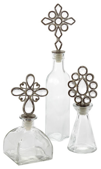 Jewel Topped Bottles – Set of Three contemporary bath and spa accessories