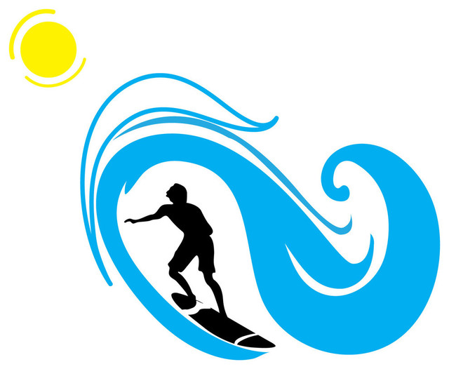 Surfer And Wave Silhouette Sports Beach Style Wall