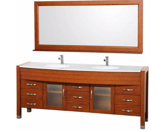 "Wyndham Collection Daytona 78"" Double Bathroom Vanity Set - Cherry -"