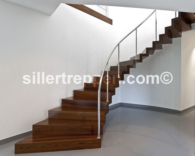 Floating stairs in wood contemporary staircase other for Free floating stairs