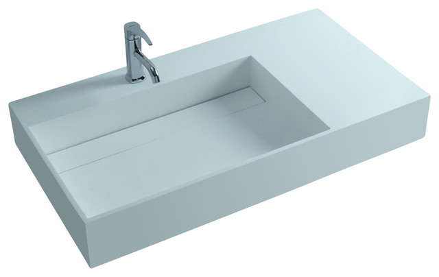 Adm white wall hung solid surface stone resin sink matte for Corian sink accessories