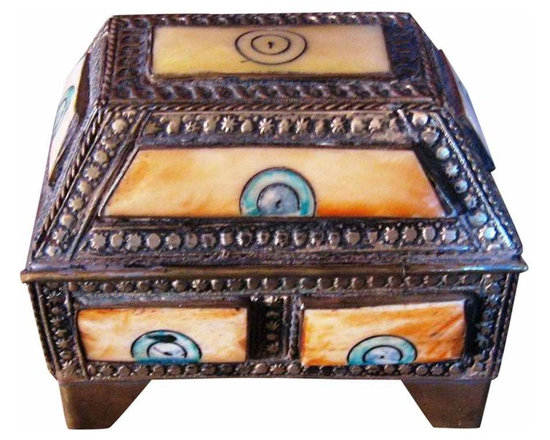 Moroccan brass & bone Box - This is a lovely Moroccan brass & engraved bone box, velvet lined. great for that special Key or pr.of earrings. The bone is engraved & painted with design  I know anyone would pleased to receive this box for Xmas.
