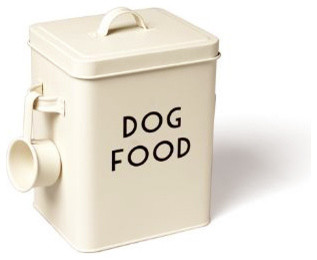 enamel dog food container with scoop contemporary pet. Black Bedroom Furniture Sets. Home Design Ideas