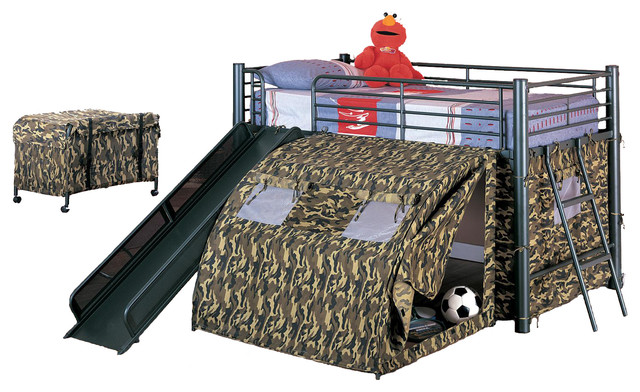 Boys fun play lofted twin bunk bed with slide camouflage for Kids twin size bed frame