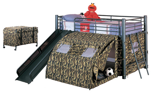 boys fun play lofted twin bunk bed with slide camouflage