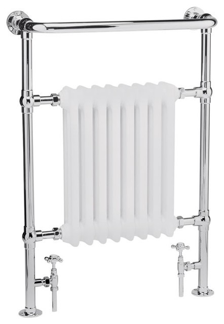 """Marquis Hydronic Towel Warmer Rail 37"""" x 25"""" With Valves - Chrome & White Finish - Traditional ..."""