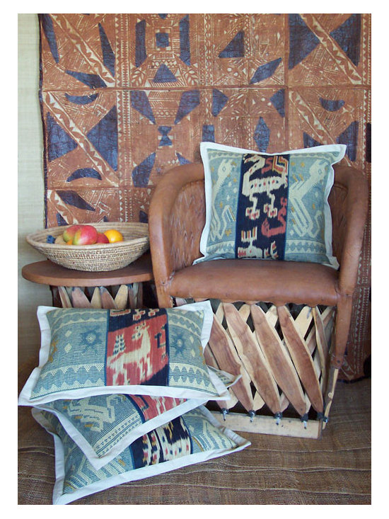 Custom & Ready Made Pillows ~ Ikat Pillows - High-end Custom and Ready made pillows available on-line. These Artisanaworks Decorative Pillows, Incorporate a Variety of Hand Dyed Ikat Textiles and Hand Wovens. These are Indonesian.  Couture Custom Workroom Services Available. Artisanaworks