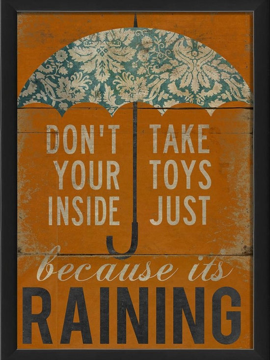 The Artwork Factory - Don't take your toys inside Framed Artwork - Ready-to-Hang, 100% Made in the USA, museum quality framed artwork