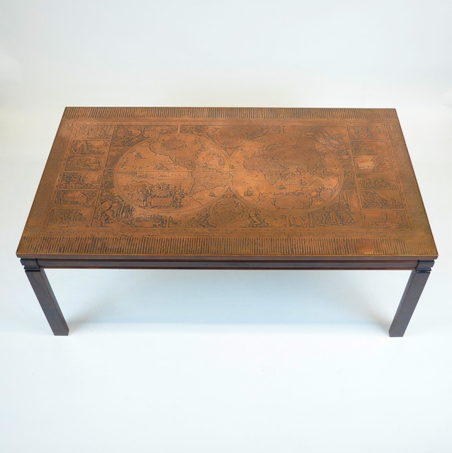 Danish Mid Century Modern Occasional Side Coffee Table Rosewood: Danish Mid Century Coffee Table W/Latin Map Copper Surface