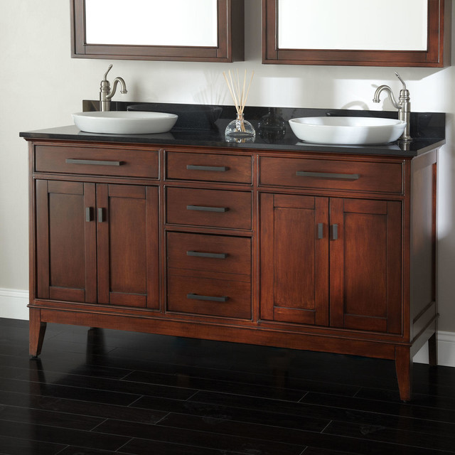 60 Tobacco Madison Double Vanity For Semi Recessed Sinks Contemporary