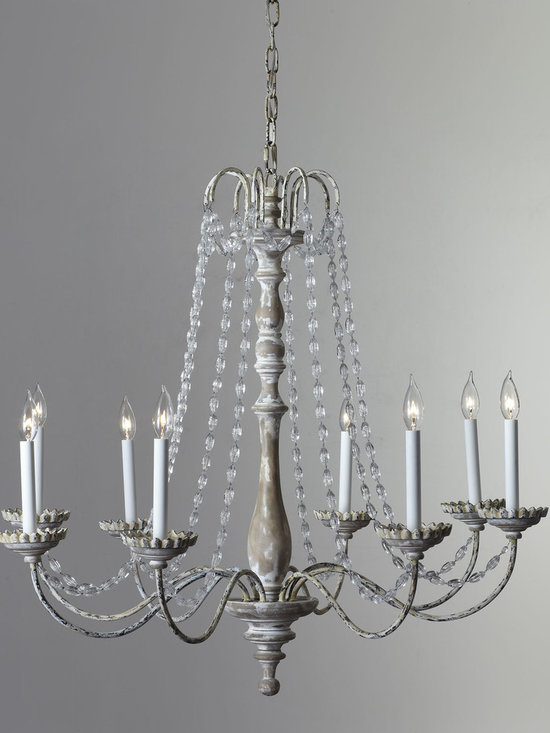 """Lighting - Wood and iron chandelier with Belgian white finish and glass beads. Uses eight 60-watt bulbs. 36.25""""Dia. x 34""""T with 6'L chain. Imported. Boxed weight, approximately 42 lbs. Please note that this item may require additional delivery and processing charges."""
