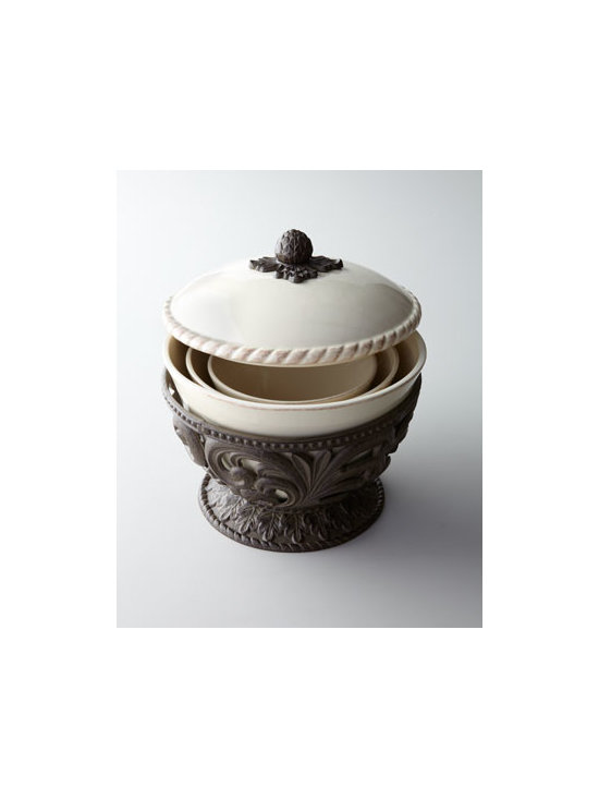 GG Collection - GG Collection Three Nesting Bowls - A combination of sturdy ceramic bowls and detailed aluminum accents, this highly functional set of nesting bowls features three graduated-size serving bowls cradled in a pedestal base with a single lid. Easy to bring out for any serving occasion, easy t...