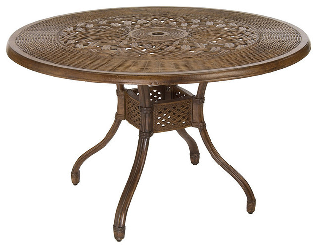 Venice round outdoor dining table patio furniture for Traditional dining table for 8