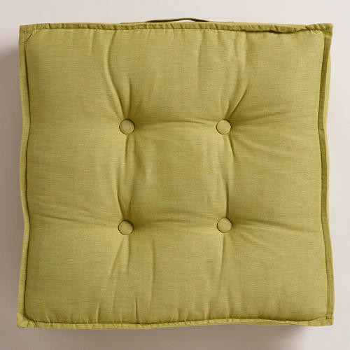 Green Floor Pillows : Green Khadi Tufted Floor Cushion - Contemporary - Decorative Pillows - by Cost Plus World Market