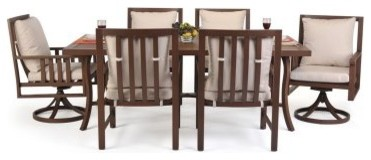 Caluco Pisa Outdoor Dining Set - Seats 6 modern-dining-tables