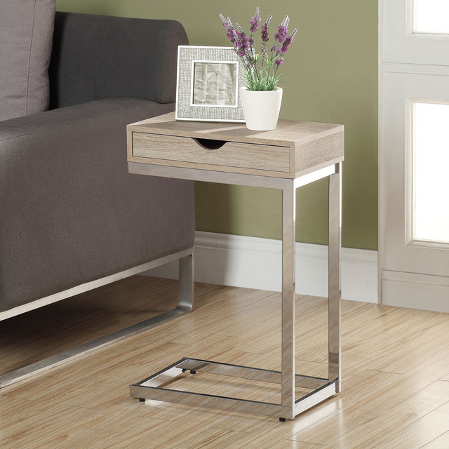 Natural Reclaimed-look Chrome Metal Accent Table contemporary-side-tables-and-accent-tables