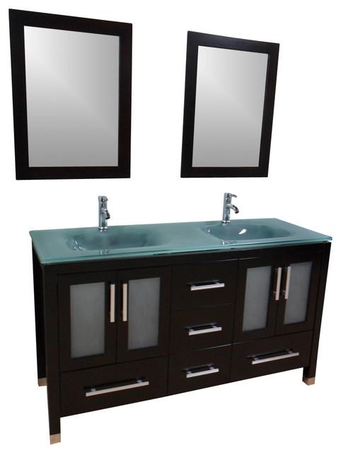 Original  42 Inch Single Bathroom Vanity In Gray Oak Green Glass Countertop