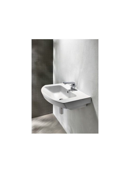 "GSI - Curved Contemporary Wall Mounted or Vessel Ceramic Bathroom Sink by GSI - Curved rectangular contemporary white ceramic bathroom sink designed and manufactured in Italy by GSI. Unique washbasin includes overflow and is available with either no faucet holes, a single hole (as shown), or 3 holes. Can be installed as either a wall mounted or above counter vessel sink. Sink dimensions: 25.60"" (width), 7.10"" (height), 19.70"" (depth)"