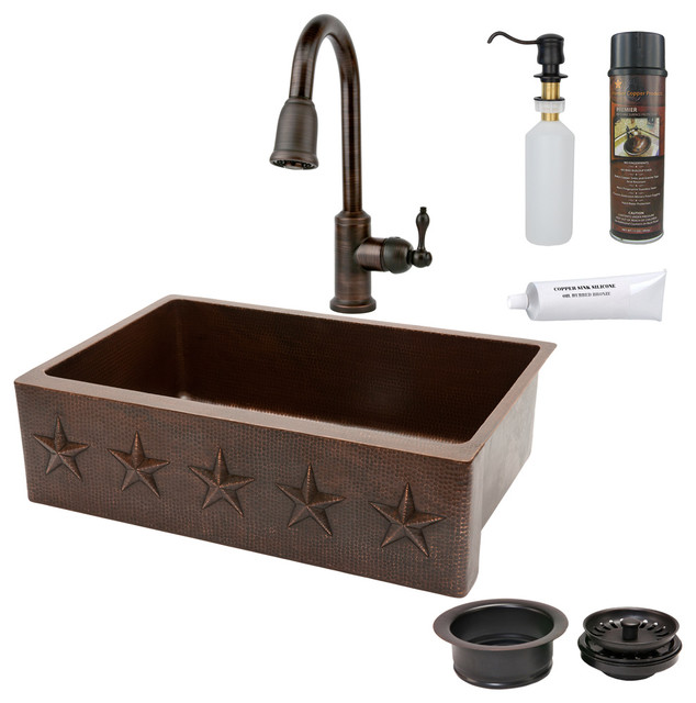 "33"" Kitchen Apron Star Sink w ORB Faucet Rustic"
