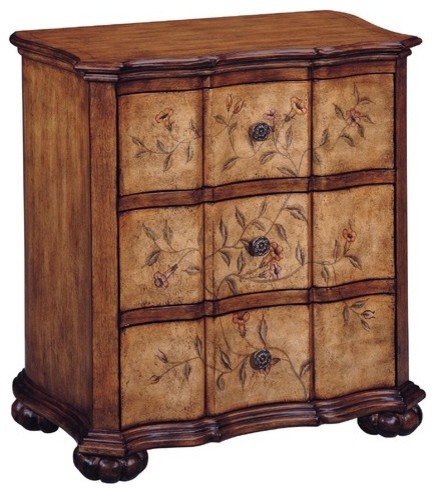 Tuscan Villa Brown Floral Accent Chest modern-dressers