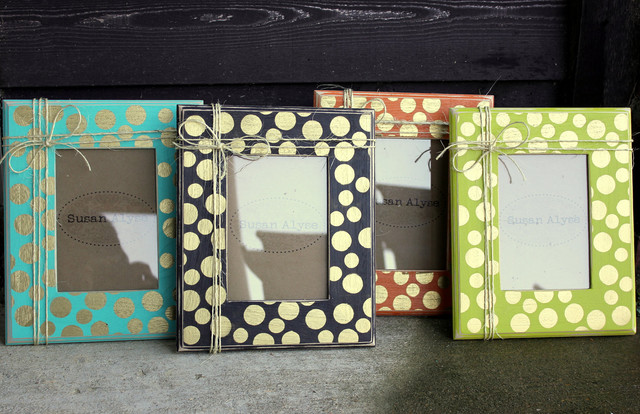 Polka Dots Picture Frame Distressed by Susan Alyse Design eclectic-picture-frames