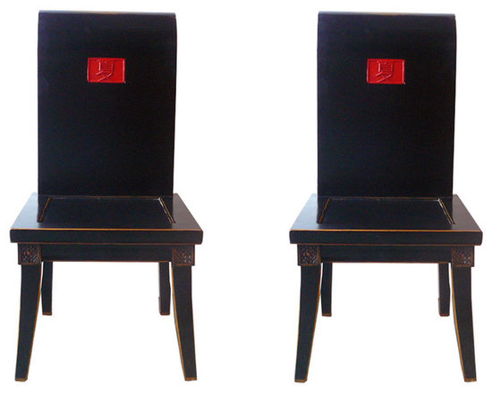 "Pair Chinese Black Lacquer Red ""Summer"" Chairs - This is a modernized chair with smooth black lacquer surface. The seat back is in scroll shape and a red ""summer"" Chinese character is in the center. It is a nice piece for home decoration."