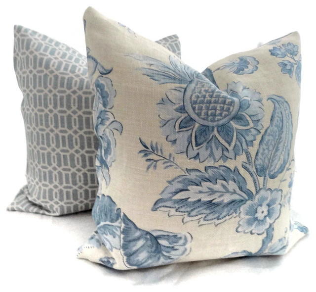 Brunschwig and Fils Yellow and Blue Linen Floral by Pop O'Color traditional-decorative-pillows