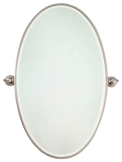 Brilliant Brushed Nickel Extra Large Oval Pivoting Bathroom Mirror