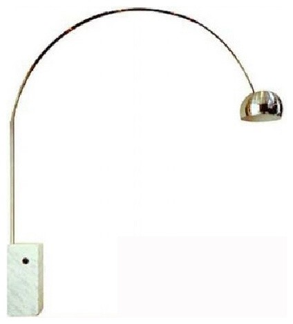 Gold Plated Aluminum Arc Floor Lamp With Marble Base
