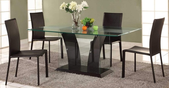 Extravagant rectangular wooden and clear glass top leather for Modern dining room table