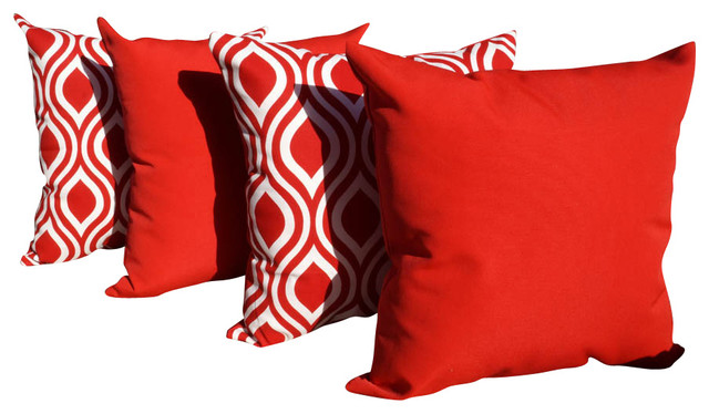 Solar Cherry and Nicole Rojo Red and White Outdoor Throw Pillows - Set of 4 contemporary-outdoor-cushions-and-pillows
