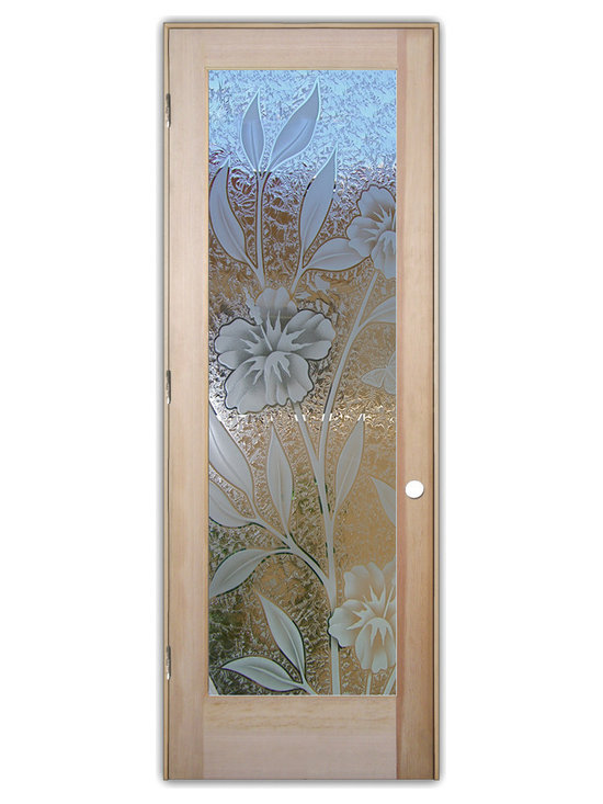 """Sans Soucie Art Glass (door frame material T.M. Cobb) - Interior Glass Door Sans Soucie Art Glass Hibiscus 3D - Sans Soucie Art Glass Interior Door with Sandblast Etched Glass Design. GET THE PRIVACY YOU NEED WITHOUT BLOCKING LIGHT, thru beautiful works of etched glass art by Sans Soucie!  THIS GLASS IS SEMI-PRIVATE.  (Photo is View from OUTside the room.)  Door material will be unfinished, ready for paint or stain.  Satin Nickel Hinges. Available in other wood species, hinge finishes and sizes!  As book door or prehung, or even glass only!  3/8"""" thick Tempered Safety Glass.  Cleaning is the same as regular clear glass. Use glass cleaner and a soft cloth."""
