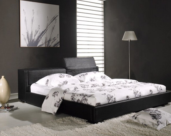 Astoria Bed Frame - Sleek, straight lines and luxurious genuine leather upholstery with individually adjustable headboard will make the Astoria Bed Frame a favorite focal point of your modern bedroom decor