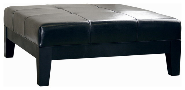 Black Large Full Leather Square Cocktail Ottoman