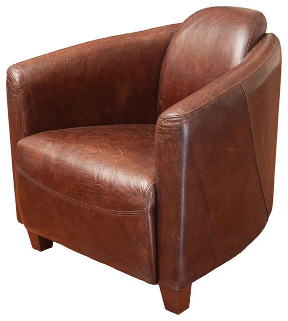 Rocket Brown Top Grain Leather Club Chair Midcentury