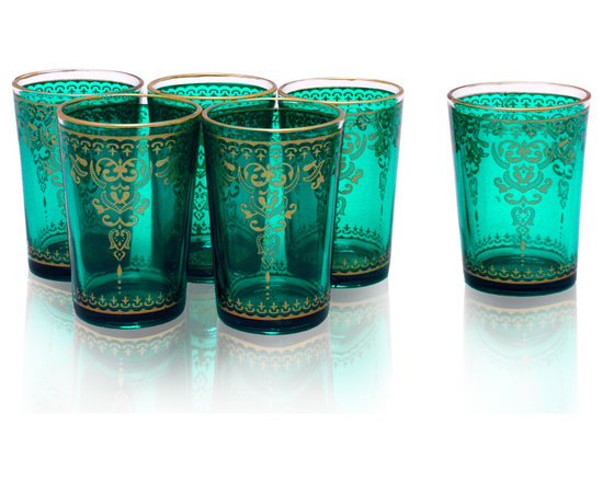 Divine Designs - Set of 6 Moroccan Tea Glasses, Teal - These stunning Moroccan tea glasses offer a new and unique experience to dining and entertaining. The vibrant color and distinguishing design is stylish and designed to impress.