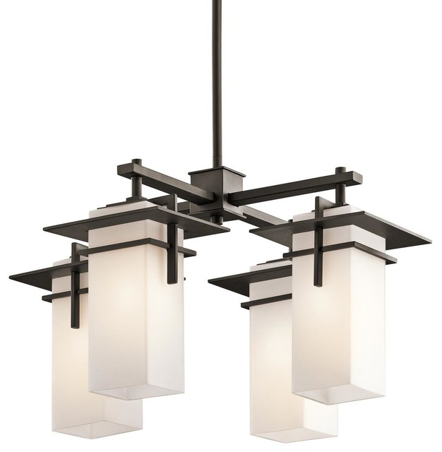 Indoor outdoor modern mission 4 light chandelier for Modern craftsman lighting